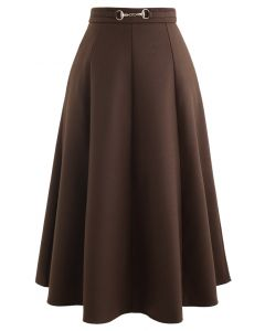 Horsebit Waist Seam Detail Flare Skirt in Brown
