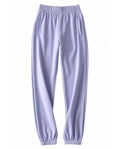 Zippered Side Pocket Joggers in Lavender