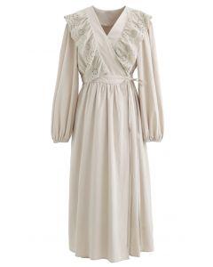Eyelet Ruffle Front Wrap Long Sleeves Dress in Linen
