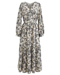 Drawing Floral Print Wrap Chiffon Dress in Cream