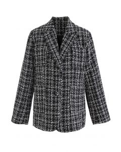 Patched Pockets Tweed Check Blazer in Schwarz