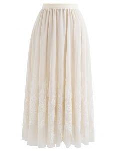 Tassel Lace Double-Layered Tulle Mesh Skirt in Cream