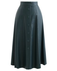 Buttoned Soft Faux Leather A-Line Skirt in Dark Green