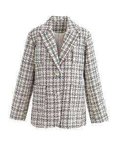 Patched Pockets Tweed Check Blazer in Creme