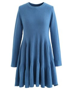 Frilling Hem Round Neck Knit Dress in Blue