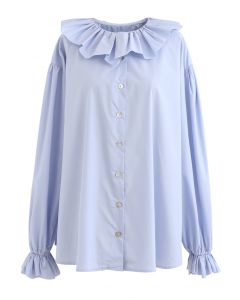 Ruffle Neck Button Down Loose Shirt in Blue