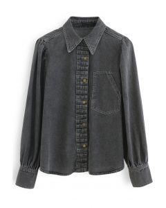 Pleated Front Buttoned Denim Shirt in Smoke