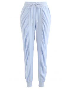 Drawstring Waist Ruched Detail Joggers in Sky Blue