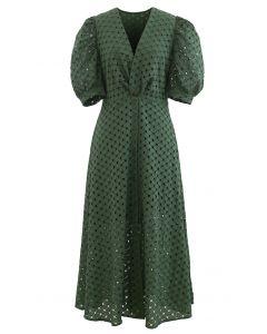 Twist V-Neck Buttoned Eyelet Dress in Green