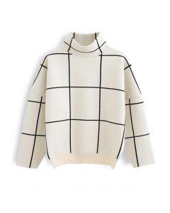 Jersey de cuello alto de rejilla en blanco