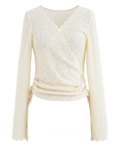 Side Drawstring Textured Wrap Lace Top in Cream