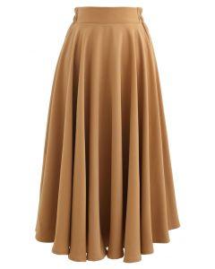 Einfarbiger Midirock mit elastischer Taille und Karamell