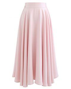 Einfarbiger Midirock mit elastischer Taille und Flare in Pink