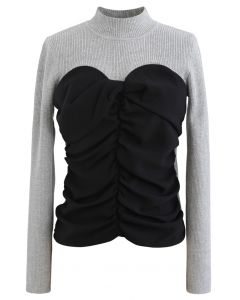 Sweetheart Spliced Ruched Knit Top in Grau
