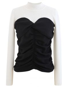 Sweetheart Spliced Ruched Knit Top in Weiß
