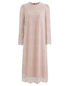 Gesticktes Vine Dots Mesh-Kleid in Dusty Pink