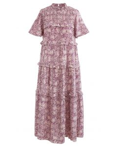 Rüschendetail-Kleid mit Blumenrock