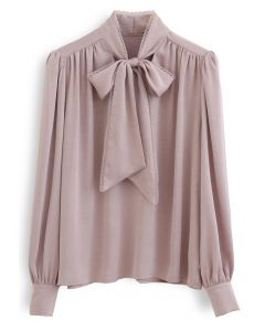 Lacy Edge Bowknot Strukturiertes Satin-Top in Dusty Pink