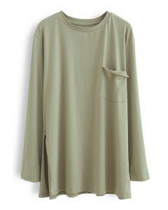 Ein Pocket Loose Pullover Sweatshirt in Olive