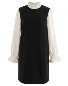 Twinset-Kleid mit Rüschenhals und Wollmischung in Schwarz