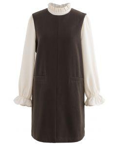 Twinset-Kleid mit Rüschenhals und Wollmischung in Oliv