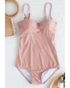 Vollbusiger Badeanzug mit offenem Rücken in Pink
