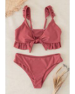 Knot Front Ruffle Bikini-Set mit hoher Taille