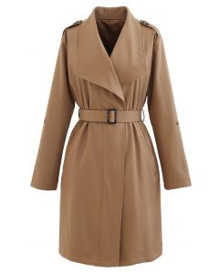 Belted Pocket Drape Neck Coat in Hellbraun