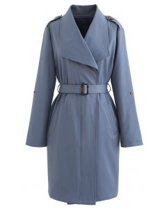 Belted Pocket Drape Neck Coat in Blau