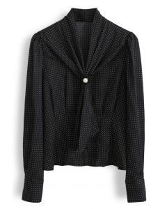 Pearl Tie Knot Polka Dots Shirt in Black