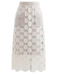 Taschenborte Floral Lace Knit Midi Rock