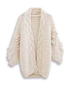 Handgestrickte Pom-Pom Braid Chunky Knit Cardigan