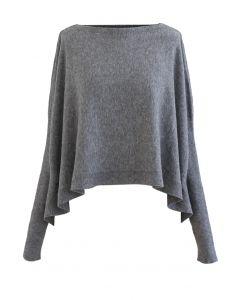 Soft Flare Hem Cape Sweater in Grau
