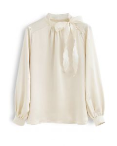 Satin Bowknot Neck Long Sleeves Top in Hellgelb