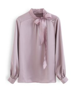 Satin Bowknot Neck Long Sleeves Top in Lila