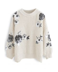 Pailletten Floral Ribbed Chunky Knit Sweater aus Elfenbein