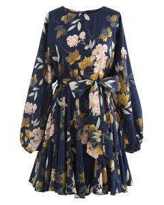 Navy Floral Printed Bubble Sleeves Rüschenkleid