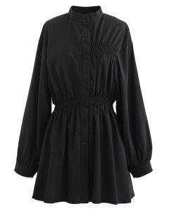 Asymmetrisches Shirred Button Down Shirt Kleid in Schwarz