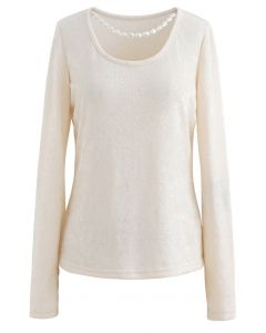 Halskette Fuzzy Langarm Top in Creme