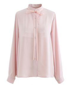 Band Krawatte Mesh Neck Satin Shirt in Pink