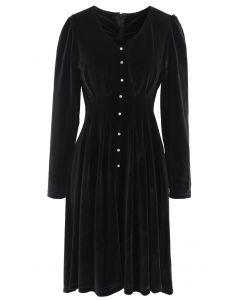 Button Trim V-Neck Velvet Midi-Kleid in Rauch