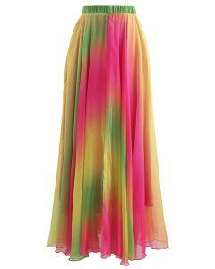 Tie Dye Chiffon Maxirock in Pink