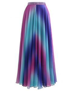 Tie Dye Chiffon Maxirock in Lila