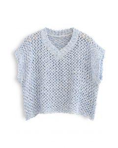 Zick-Zack-Hollow-Out-Pullover mit V-Ausschnitt in Blau