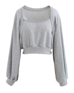 Kurzes Sweatshirt mit Puffärmeln in Grau