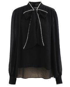 Bowknot Pearl Trim Semi-Sheer Shirt in Schwarz