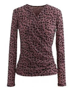 Samt Leopard Dot Wrapped Top