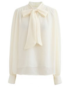 Bowknot Pearl Trim Semi-Sheer Shirt in Creme
