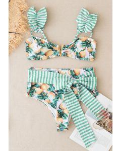 Gestreifter Bowknot Bikini Set mit Zitronendruck
