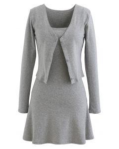 Baumwollmischung V-Ausschnitt Knopf Twinset Kleid in Grau